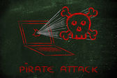 Malware threats and internet security, skull and pc — Foto de Stock