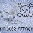 Malware threats and internet security, skull and pc — Stock Photo #40410663