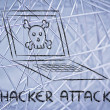 Malware threats and internet security, skull and pc — Stock Photo #40411473