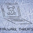 Malware threats and internet security, skull and pc — Stock Photo #40412721