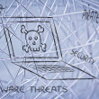 Malware threats and internet security, skull and pc — Stock Photo #40413305