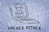 Malware threats and internet security, skull and pc — Stock Photo