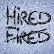 Stock Photo: Word Fired deleted and replaced by Hired