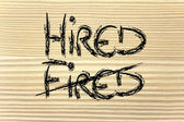 The word Fired deleted and replaced by Hired — Zdjęcie stockowe