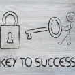 Stock Photo: Find key to success, funny character with key and lock
