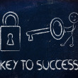 Стоковое фото: Find key to success, funny character with key and lock