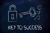 Find the key to success, funny character with key and lock — Stock Photo