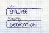 User Employee, password Dedication — Stock Photo