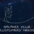 Stock Photo: Balancing your customers' needs: funny character juggling