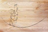 Balancing and managing responsibilities: funny character jugglin — Stock Photo