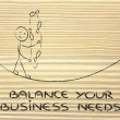 Stock Photo: Balancing and managing your business needs: funny character jugg
