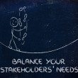 Stock Photo: Balancing your stakeholders' needs: funny character juggling