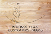 Balancing your customers' needs: funny character juggling — Stock Photo