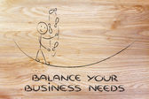 Balancing and managing your business needs: funny character jugg — 图库照片