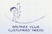 Балансирование и управление потребности клиентов: Смешная девчонка жонглирование — Стоковое фото