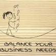 Balancing and managing business needs: funny girl juggling — Stock Photo