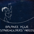 Balancing and managing stakeholders' needs: funny girl juggling — Stock Photo