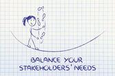 Balancing and managing stakeholders' needs: funny girl juggling — Stock Photo