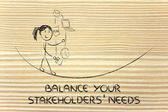 Balancing your stakeholders' needs: juggling with pc, document, — Stock Photo