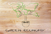 Green economy: symbol of tree with contintents as leaves — Stock Photo