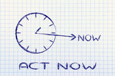 The time is now, act now — Stock Photo