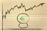 Funny crystal ball and euro exchange rate — Stock Photo
