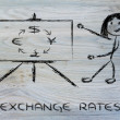 Stock Photo: Blackboard & currency exchange rates: euro, dollar, yen, pound