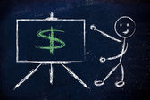 Dollar currency symbol in blackboard design — Stock Photo