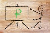 Ruble currency symbol in blackboard design — Stock Photo