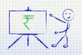 Rupee currency symbol in blackboard design — Stock Photo