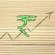Stock Photo: Stock exchange graph with rupee currency symbol
