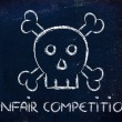 Unfair competition threat, funny skull metaphor — Stock Photo #41960537