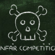 Stock Photo: Unfair competition threat, funny skull metaphor