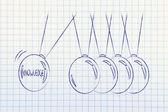 Knowledge sharing, balance balls symbol — Stock Photo