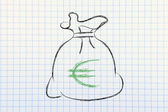 Euro money bag — Stock Photo