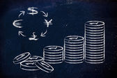 Stack of coins and currency symbols, exchange rates — Stock Photo