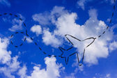 Travel industry: airplane and air route or trail — Stockfoto