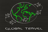 Travel industry: airplanes around the world — Stock Photo
