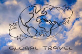 Travel industry: airplanes around the world — Stock Photo