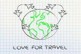 Love for travel: airplane trails heart around the world — Stok fotoğraf