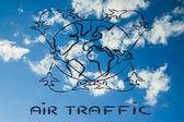 Travel industry: air traffic around the world — Stock Photo