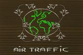 Travel industry: air traffic around the world — Stockfoto