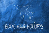 Book your holidays design with airplane flying — Stock Photo