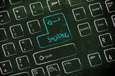 Computer keyboard with special key: shopping — Stock Photo