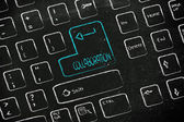 Computer keyboard with special key: collaboration — Stock Photo