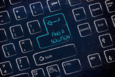 Computer keyboard with special key: find a solution — Stock Photo