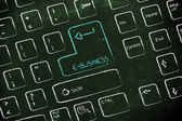 Computer keyboard with special key: e-business — Stock Photo