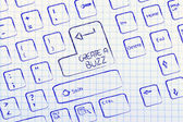 Computer keyboard with special key: create a buzz — Foto de Stock