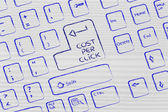Computer keyboard with special key: cost per click — Stock Photo