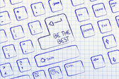 Computer keyboard with special key: be the best — Stock Photo